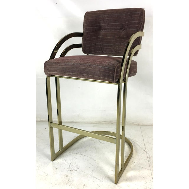 Brass Cantilevered Bar Stools - Set of 4 For Sale - Image 4 of 7