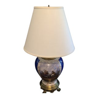 European Blue and Painted War Scene Porcelain Lamp Pictorial 19th Century with Shade For Sale