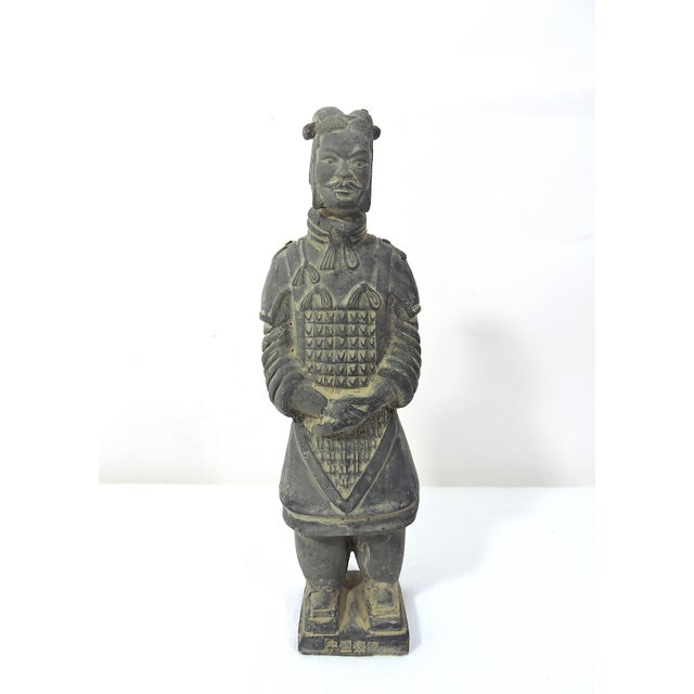 Chinoiserie Vintage Chinese Terracotta Warrior Figure (X'ian), Boxed Statue For Sale - Image 3 of 9