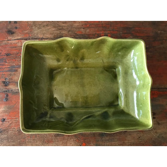 1960s Usa Pottery Green & Blue Shallow Planter For Sale - Image 5 of 9