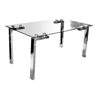 Desk Size Modern Minimalist Polished Chrome and Glass Dining Table For Sale