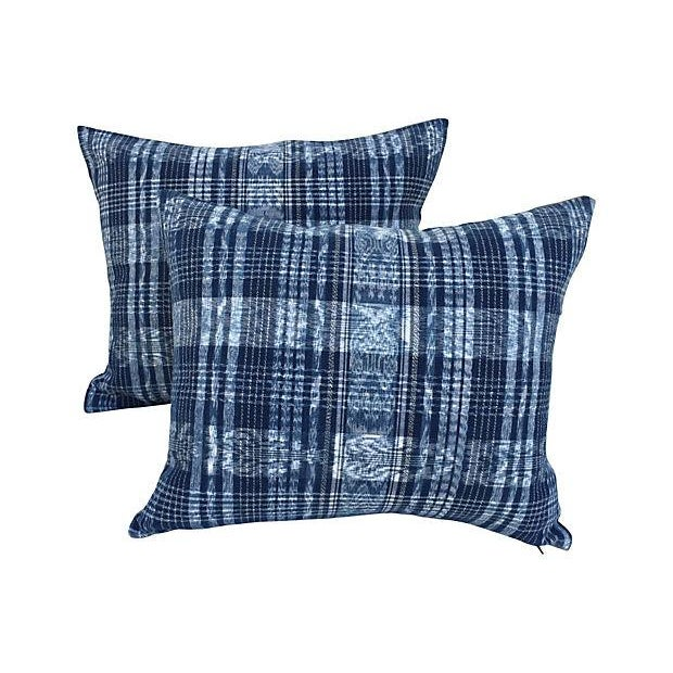 Indigo Blue & White Ikat Pillows - a Pair For Sale