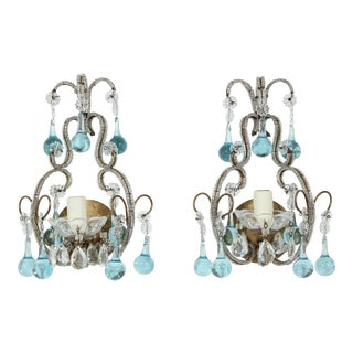 Italian Vintage Crystal Beaded Sconces With Blue Drops - a Pair For Sale