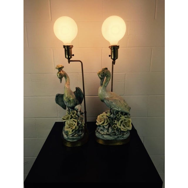 Arts & Crafts Freeman Leidy Ceramic Crane Lamps - Pair For Sale - Image 3 of 10