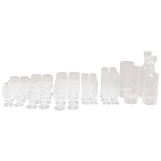 Italian Crystals Glasses Set With 40 Glasses, 2 Decanters and 2 Bottles For Sale