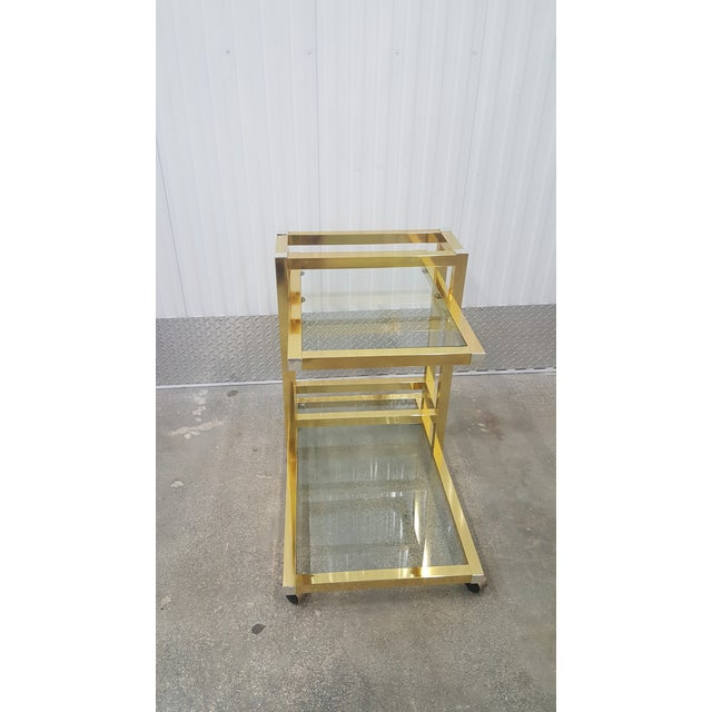 Gold Vintage Brass Bar Cart. For Sale - Image 8 of 13