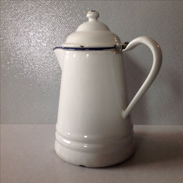 French Country White Enamel Pitcher - Image 4 of 11