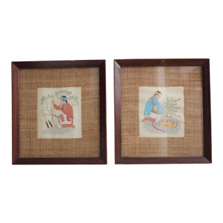 Harrison Begay Framed Paintings - A Pair For Sale