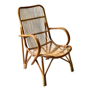 Vintage Mid-Century 70s Rattan Albini Style Shell Lounge Side Chair For Sale