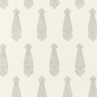 Schumacher Katara Paisley Wallpaper in Oyster For Sale