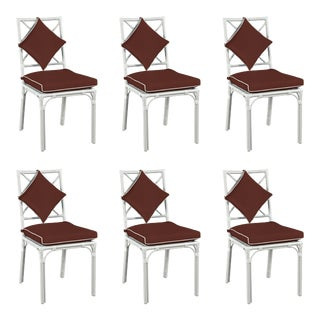 Haven Outdoor Dining Chair, Canvas Bay Brown with Canvas White Welt, Set of 6 For Sale