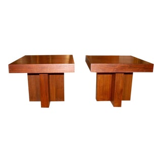 Milo Baughman Cruciform Occasional Tables - a Pair For Sale