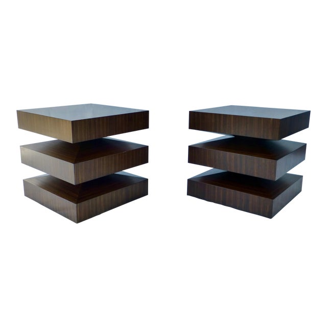 Danish Modern Cubist Stacked Rosewood End Tables- A Pair - Image 1 of 11