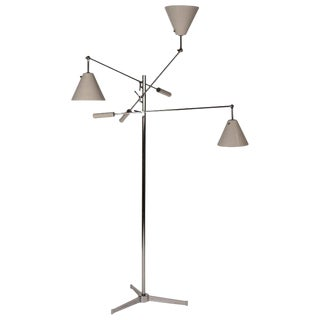 1950s Vintage Polished Nickel Arredoluce Monza Triennale Tripod Base Floor Lamp For Sale