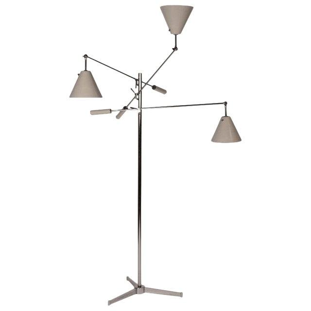 1950s Vintage Polished Nickel Arredoluce Monza Triennale Tripod Base Floor Lamp For Sale