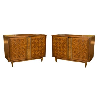 Pair of Midcentury Marquetry Wood Cabinets For Sale