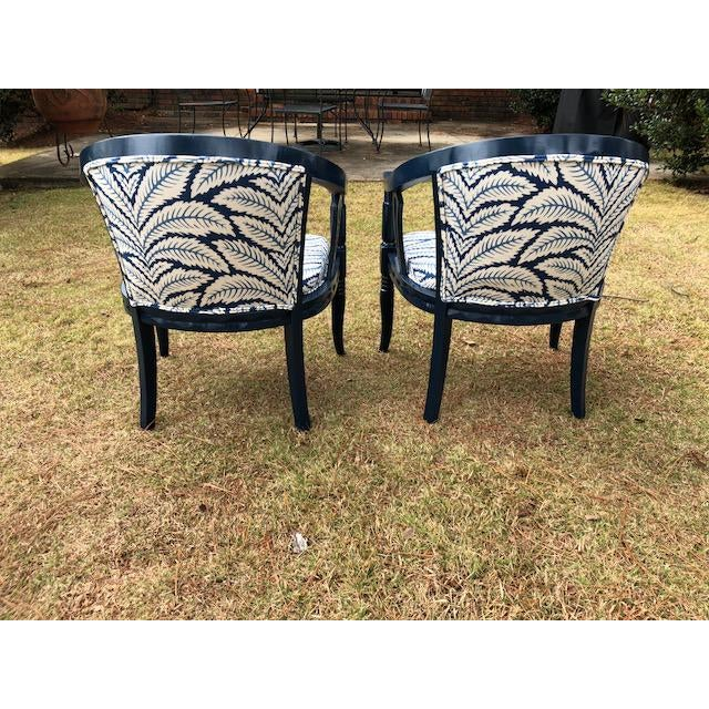 Brunschwig and Fils Navy & White Fabric Chairs - A Pair - Image 4 of 5