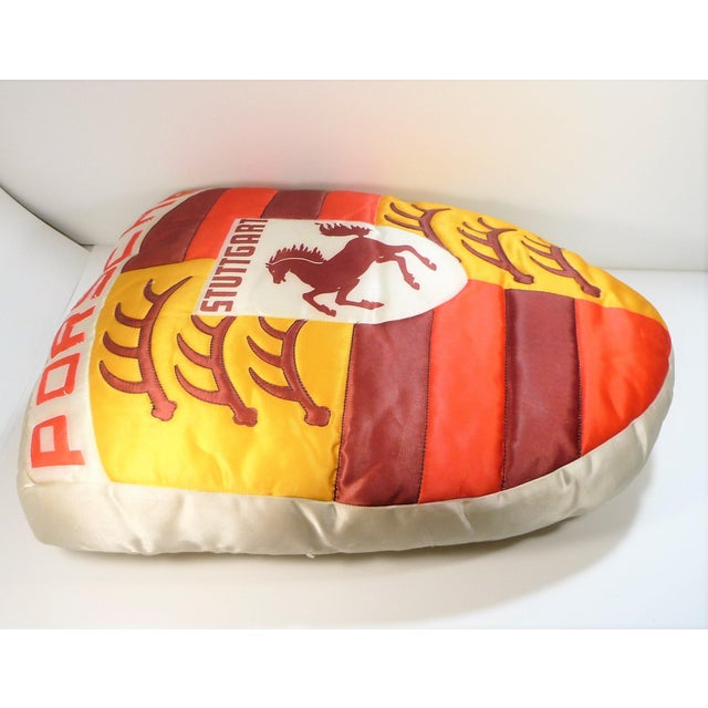 Vintage Porsche Crest Decorative Pillow For Sale In New Orleans - Image 6 of 8