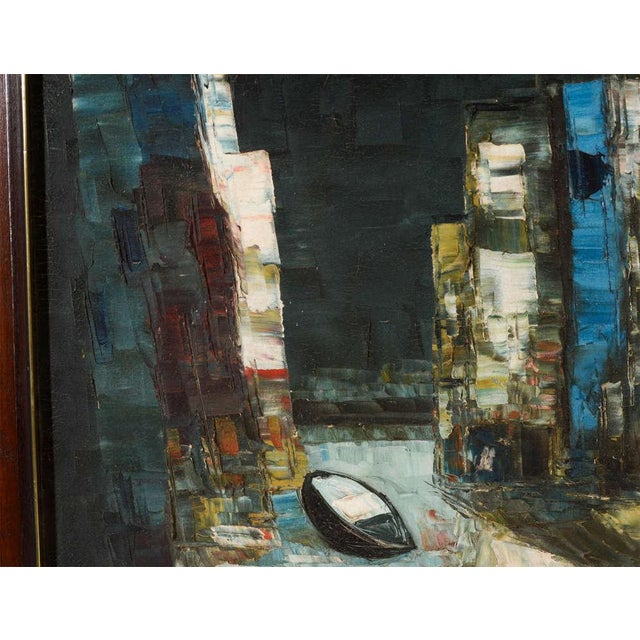 Vintage Abstract Painting of Rowboats in Original Wood Frame For Sale - Image 4 of 7