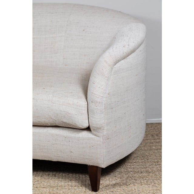 2010s Vintage Curved Sofa With Pat McGann Workshop Upholstery Fabric For Sale - Image 5 of 11
