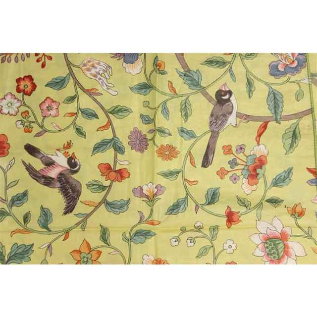 Vintage Porcelain Yellow Glazed Chintz Fabric W/ Multi-Colour Floral Pattern 2 For Sale