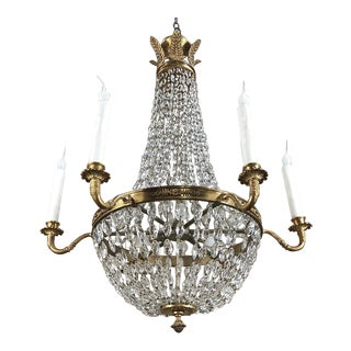 Antique French Empire Neoclassical Sack of Pearls Chandelier With Crystals For Sale