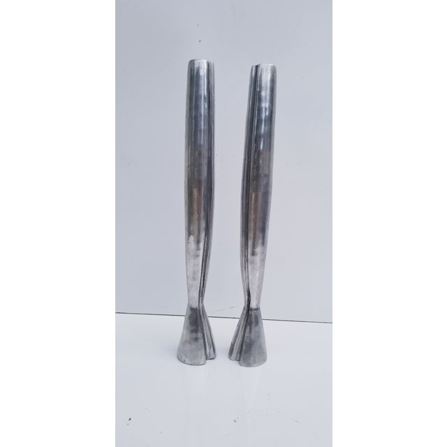 1970s Hollywood Regency Heavy Aluminum Candle Holders - a Pair For Sale In Miami - Image 6 of 7