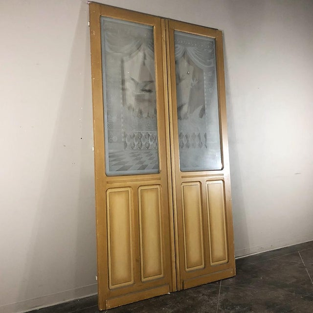 Pair 19th Century Etched Glass Interior Doors For Sale - Image 4 of 12