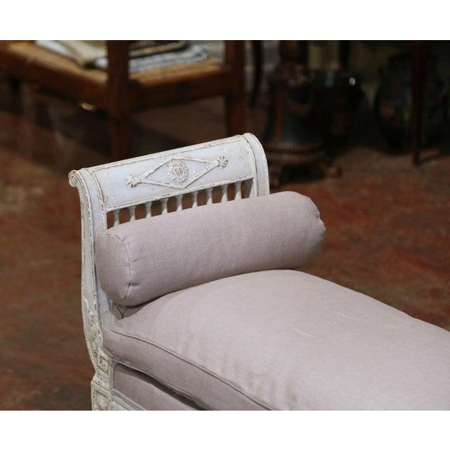 19th Century French Directoire Carved Painted Upholstered Banquette With Back For Sale In Dallas - Image 6 of 9