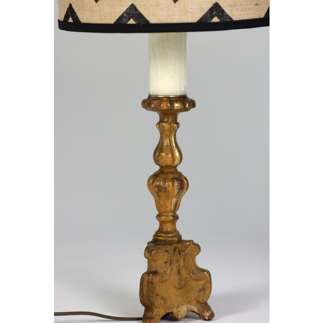 Pair of Small Scale Carved Giltwood Pricket Sticks, French Circa 1780 Mounted and Wired as Table Lamps With Custom Shades. For Sale - Image 12 of 13