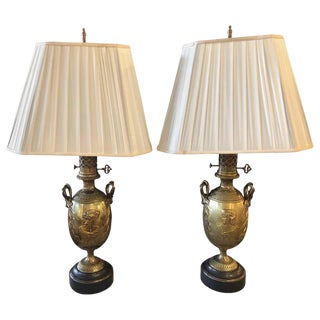 19th Century Urn Shaped Grecian Doré Bronze Table Lamps, a Pair For Sale
