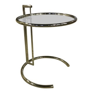 Mid-Century Modern Eileen Gray Chrome & Glass Round Side Table