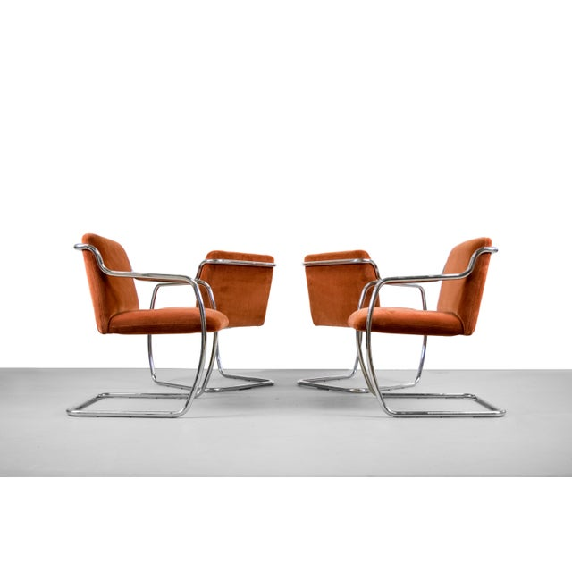 Brueton Chrome and Velvet Dining or Conference Chairs - Image 8 of 11