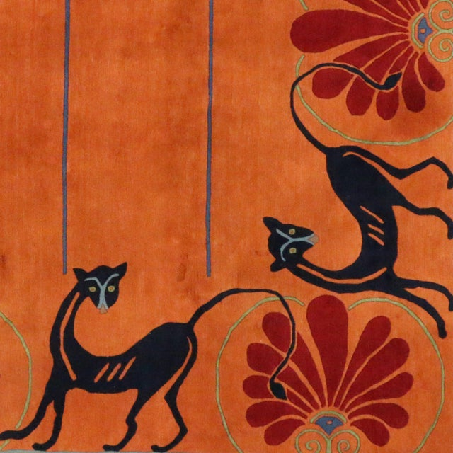 Vintage Tibetan Orange with Black Cats Rug - 8′3″ × 10′2″ For Sale In Dallas - Image 6 of 7
