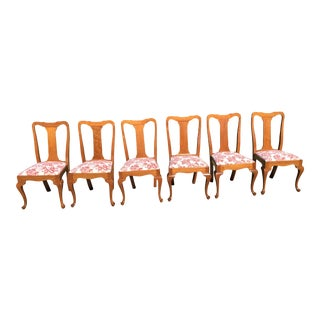 Handmade Queen Anne Cherry Dining Chairs - Set of 6 For Sale