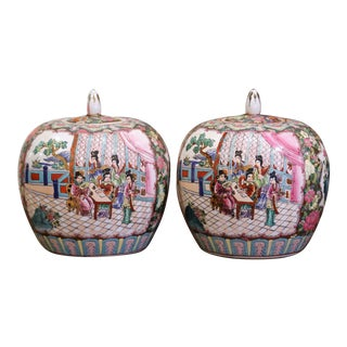Pair of Mid-Century Chinese Famille Rose Porcelain Melon Jars For Sale