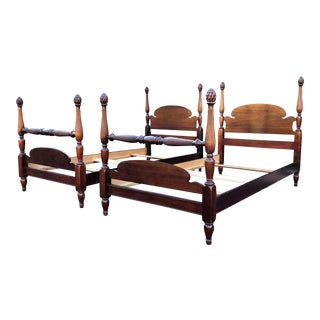 Solid Mahogany Antique Pineapple Twin Beds- a Pair For Sale