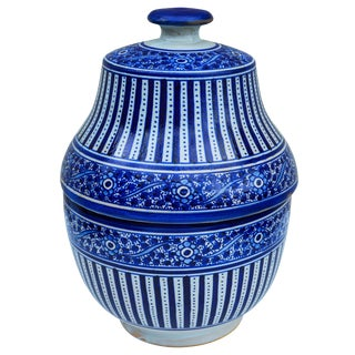 Handmade Moroccan Ceramic Urn W/ Blues For Sale