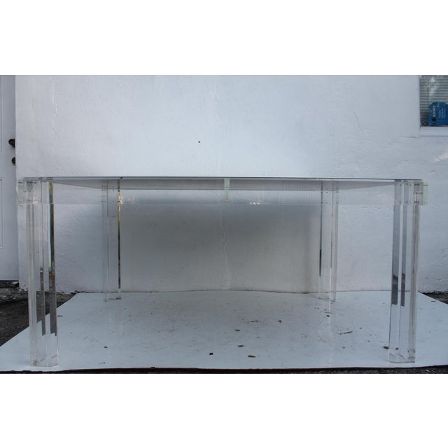 VJJ 1978 Signed Lucite Dining Table For Sale - Image 4 of 11