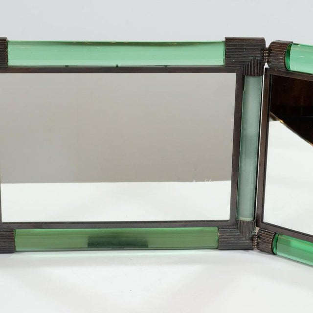 Mid-Century Modern Italian Mid-Century Emerald Glass, Bronze and Glass Illuminated Vanity Mirror For Sale - Image 3 of 10