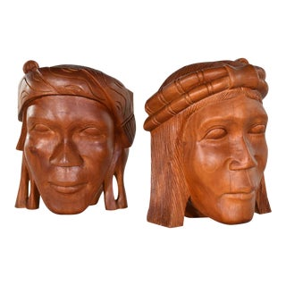 Vintage Tribal Carved Wood Figural Bookends Heads Only For Sale