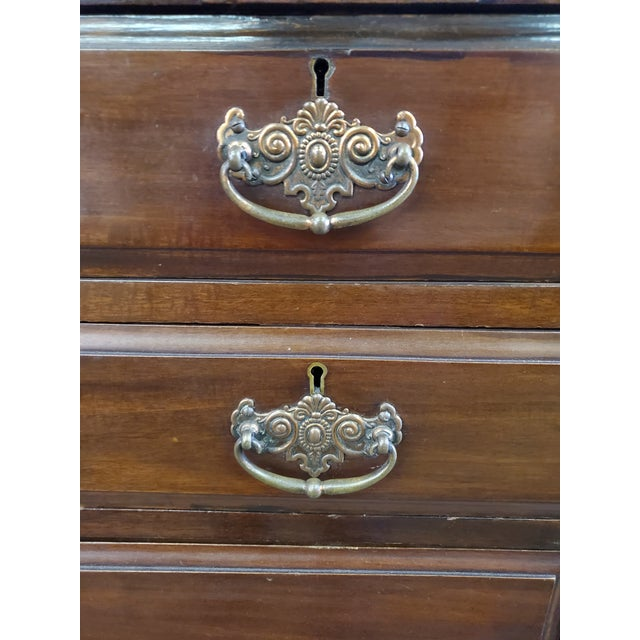 19th Century Antique Mahogany Chest Of Drawers For Sale - Image 9 of 12