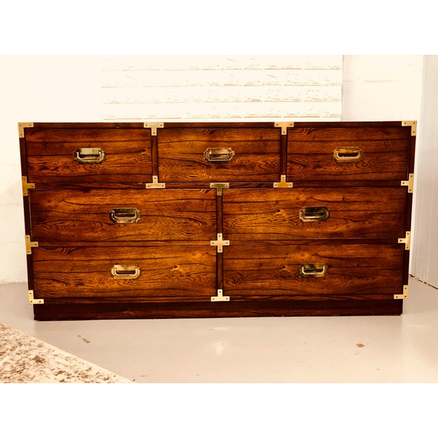 Campaign Vintage Bernhardt Campaign Chest of Drawers With Mirror For Sale - Image 3 of 10