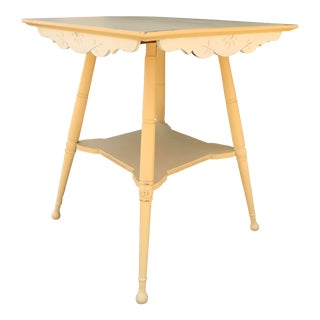Antique Yellow and White Side Table For Sale