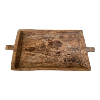 Oversized Rustic Wood Tray For Sale