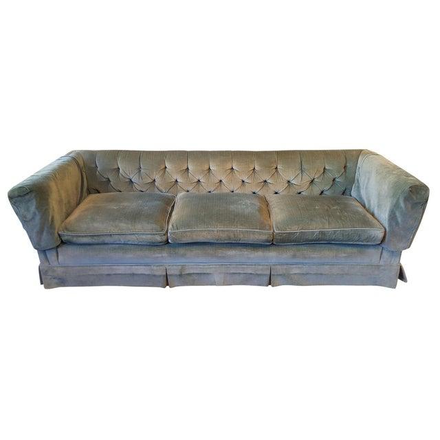 Henredon Teal Velvet Sofa For Sale