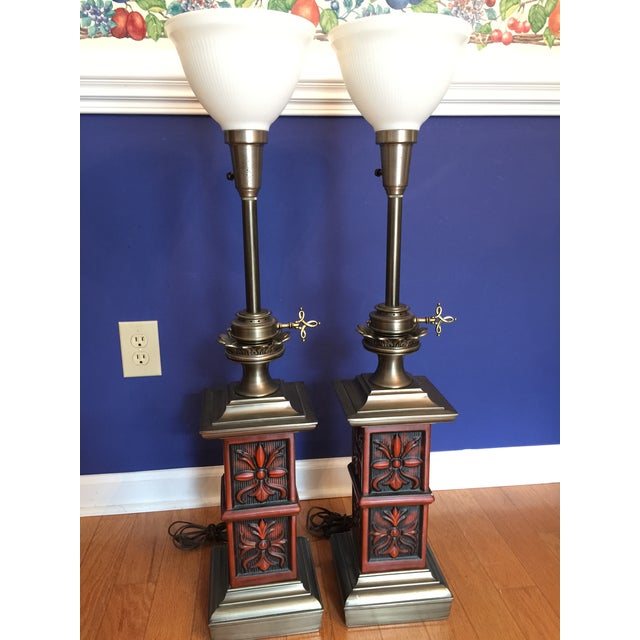 Asian Stiffel Mid-Century Hollywood Regency Red Table Lamps, 1960s - A Pair For Sale - Image 3 of 11