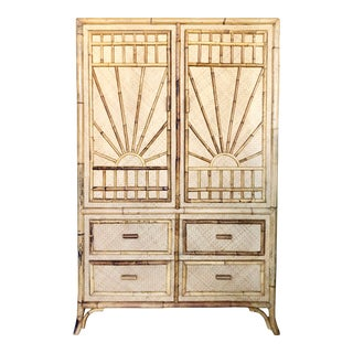 Vintage Rattan Burnt Bamboo Armoire For Sale
