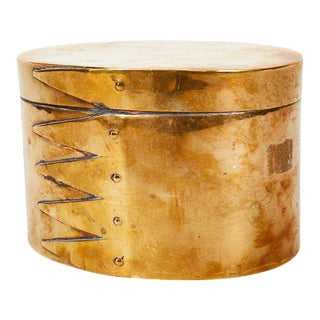 Italian 1970s Gabriella Crespi Style Brass Wraparound Lidded Box For Sale