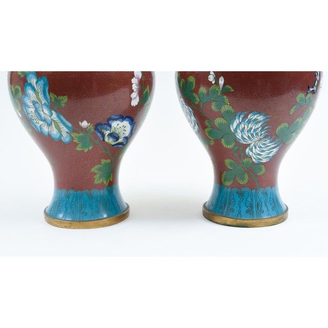 Late 19th Century Cloisonné Floral Decorative Vases - a Pair For Sale In New York - Image 6 of 13
